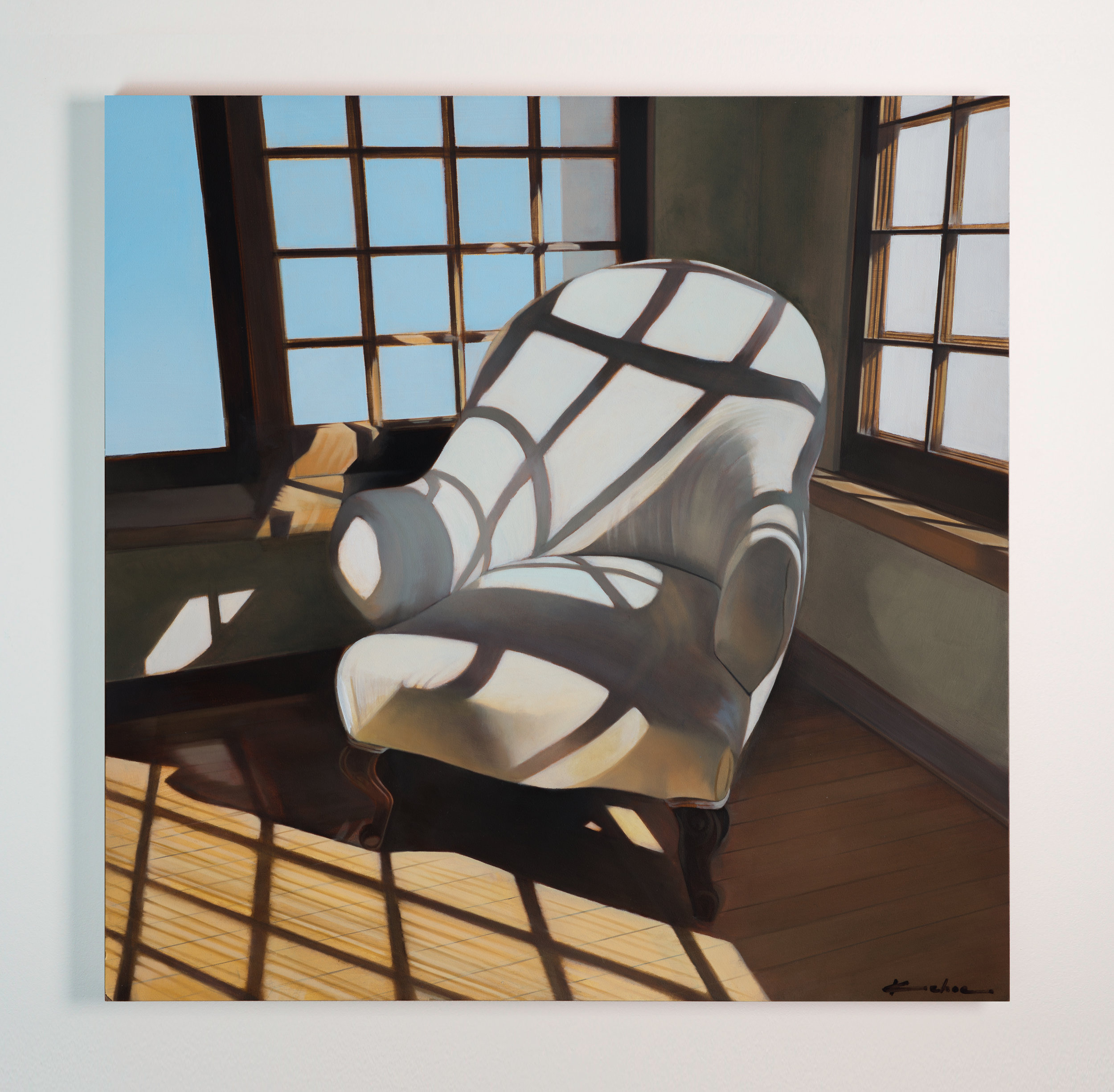 """SOLD  THE ALBUQUERQUE MUSEUM'S ARTS THRIVE EXHIBIT OCT. 21 THROUGH DECEMBER 4TH  Title: FECHIN'S CHAIR  15 X 15, Oil on Board  The Taos Art Museum in New Mexico resides in the former studio of Nicolai Fechin, one of New Mexico's most recognized painters. As I toured the unique Russian-Pueblo structure that Fechin designed and built much of by hand, I was struck by one of the artist's """"thinking"""" chairs in the corner with late afternoon long shadows and beautiful light raking across it. I did a few thumbnail sketches to figure out what the composition was calling for and came away with a few reference images that I thought would make a successful small painting while paying a small tribute to the mastery of Nicolai Fechin."""