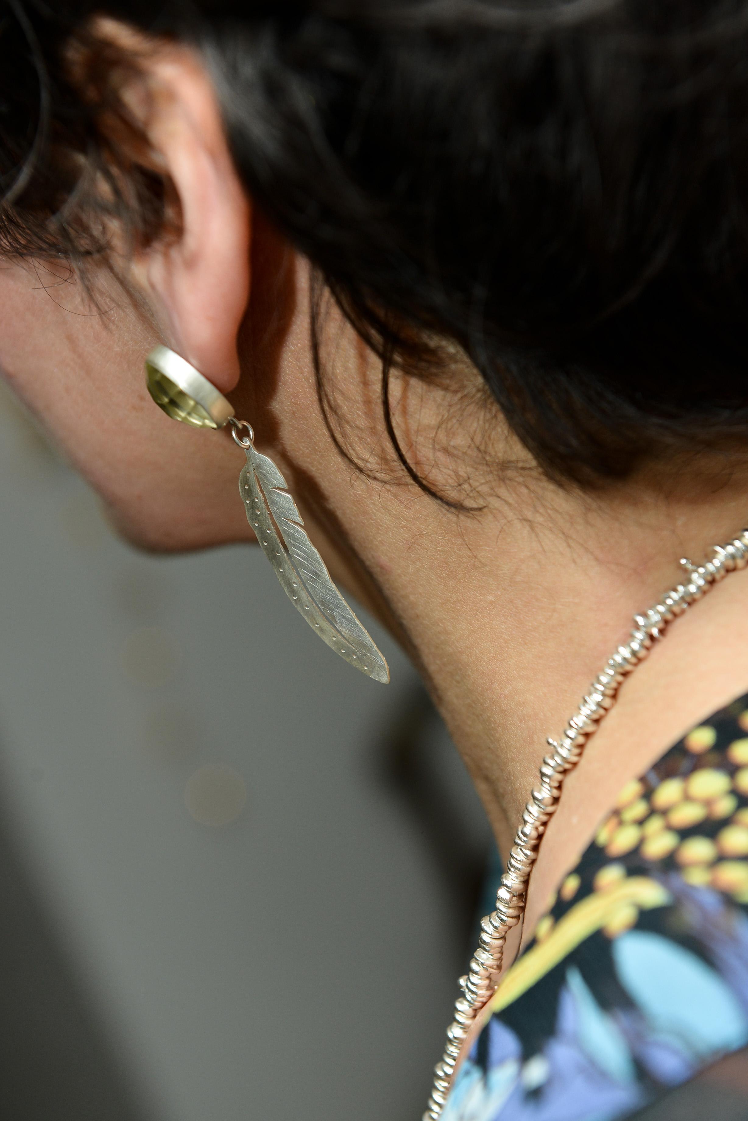 Feather earrings with lemon quartz