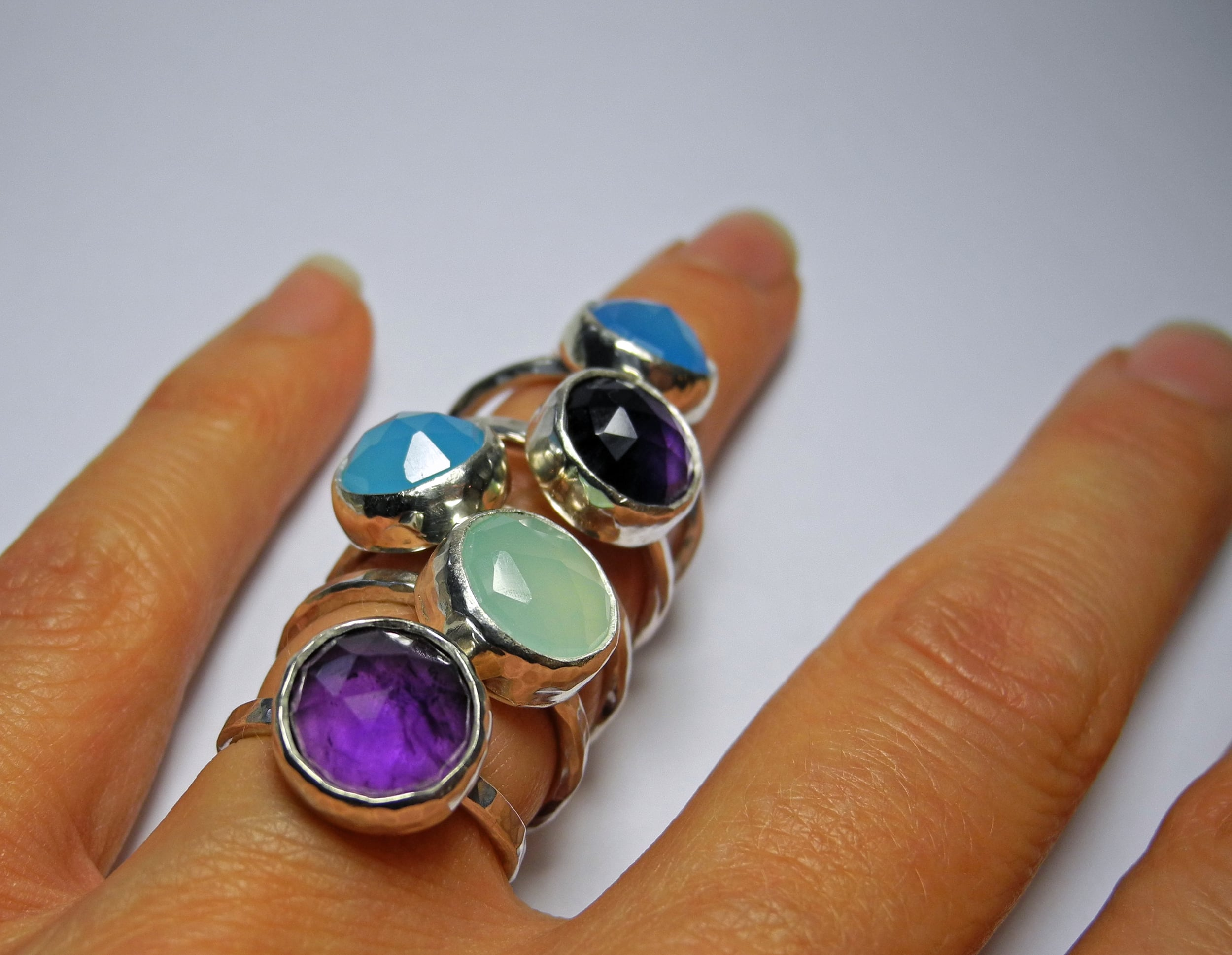 Sweetie rings with amethyst, aquamarine and blue chalcedony