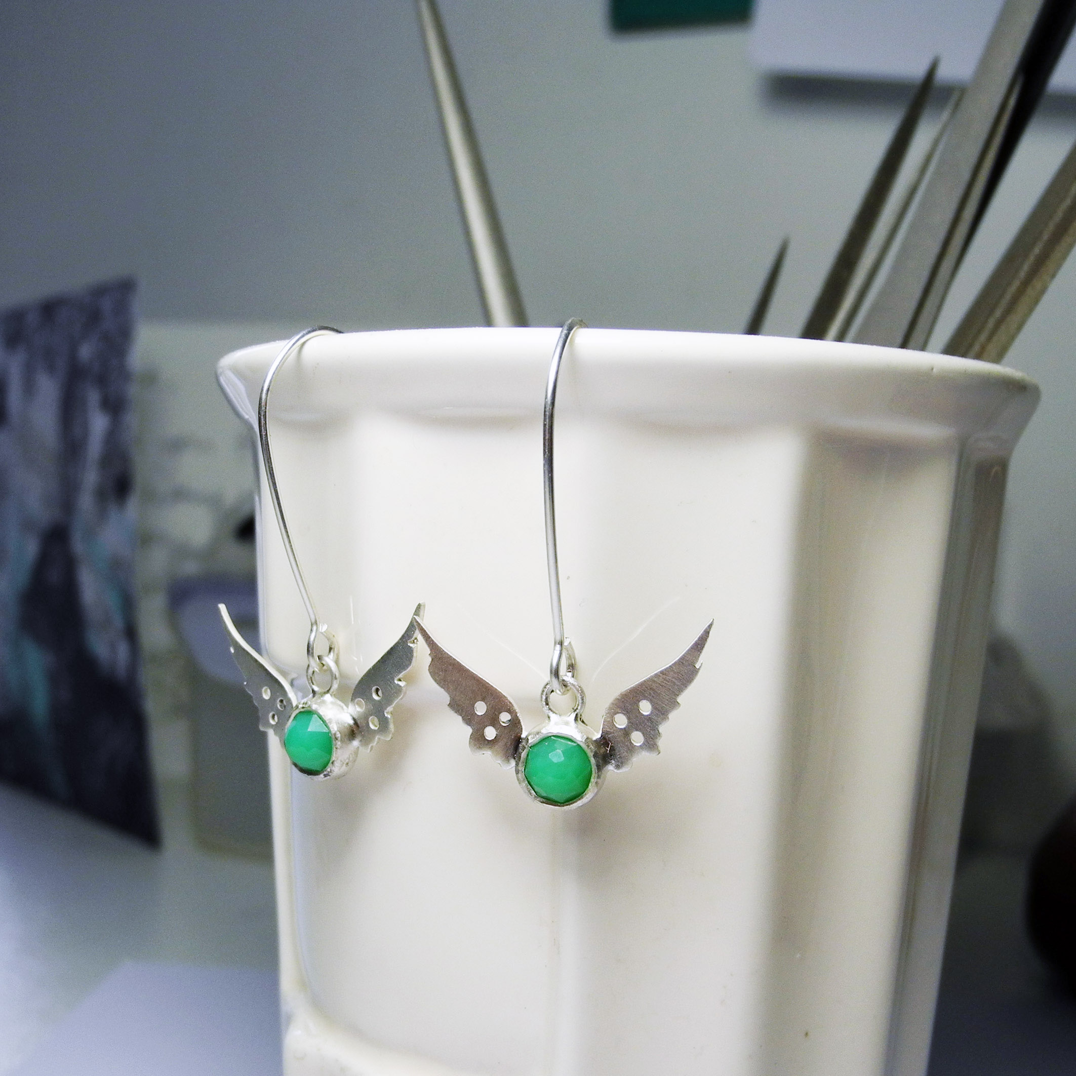 Tiny Hermes Wings earrings with chrysoprase