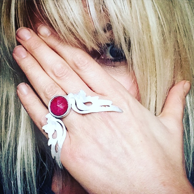 Hermes Wings ring with ruby