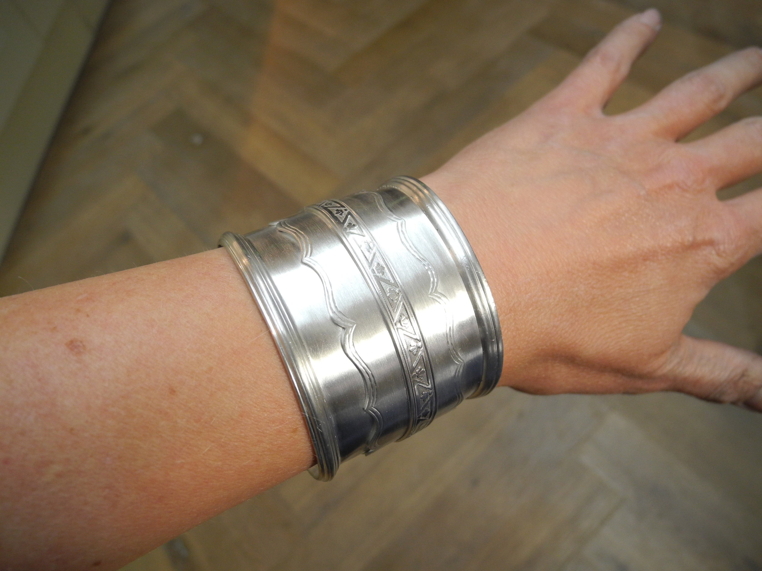 Finished silver wrist cuff