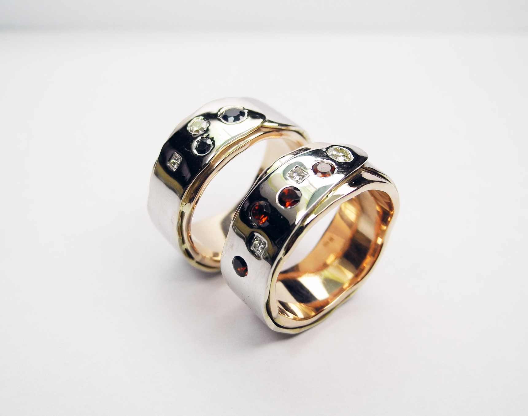 Wrapt wedding bands - white and rose gold with stones