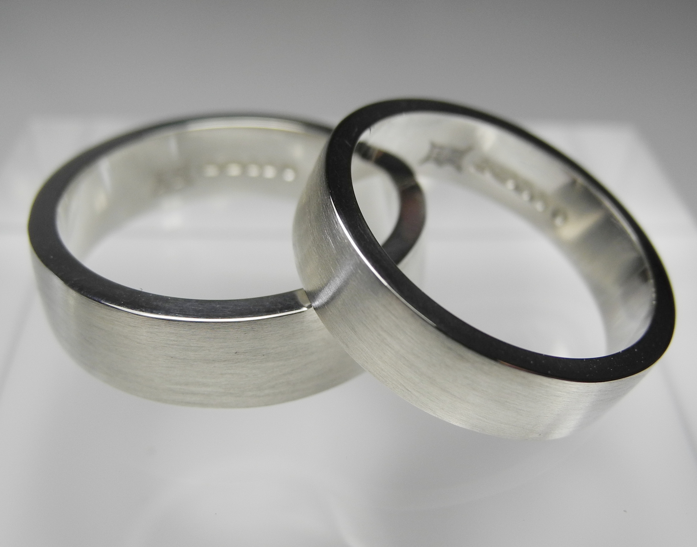 Flat profile wedding bands, mirror polished inside and satinised outside