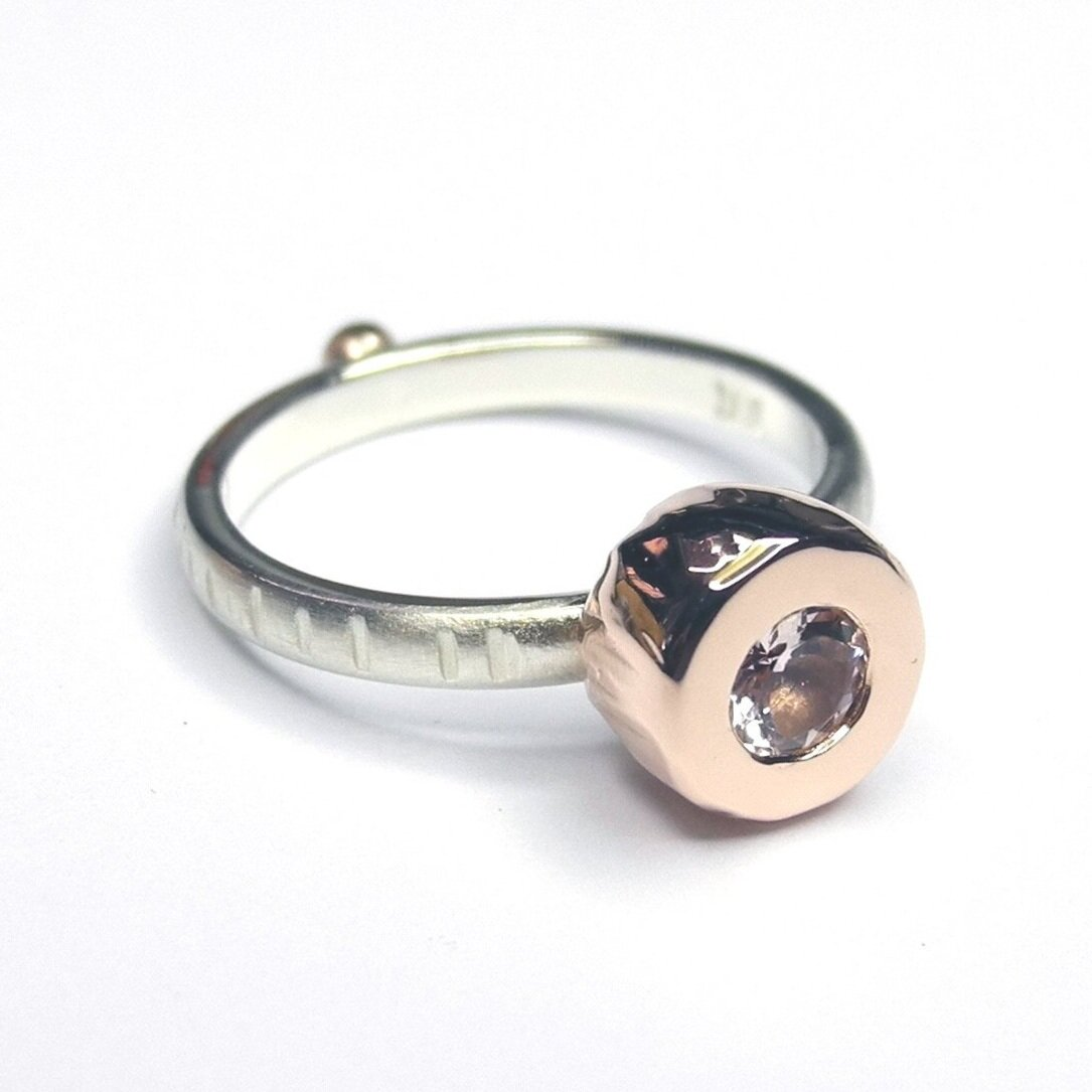 Juno ring in 9ct rose and white gold, set with morganite
