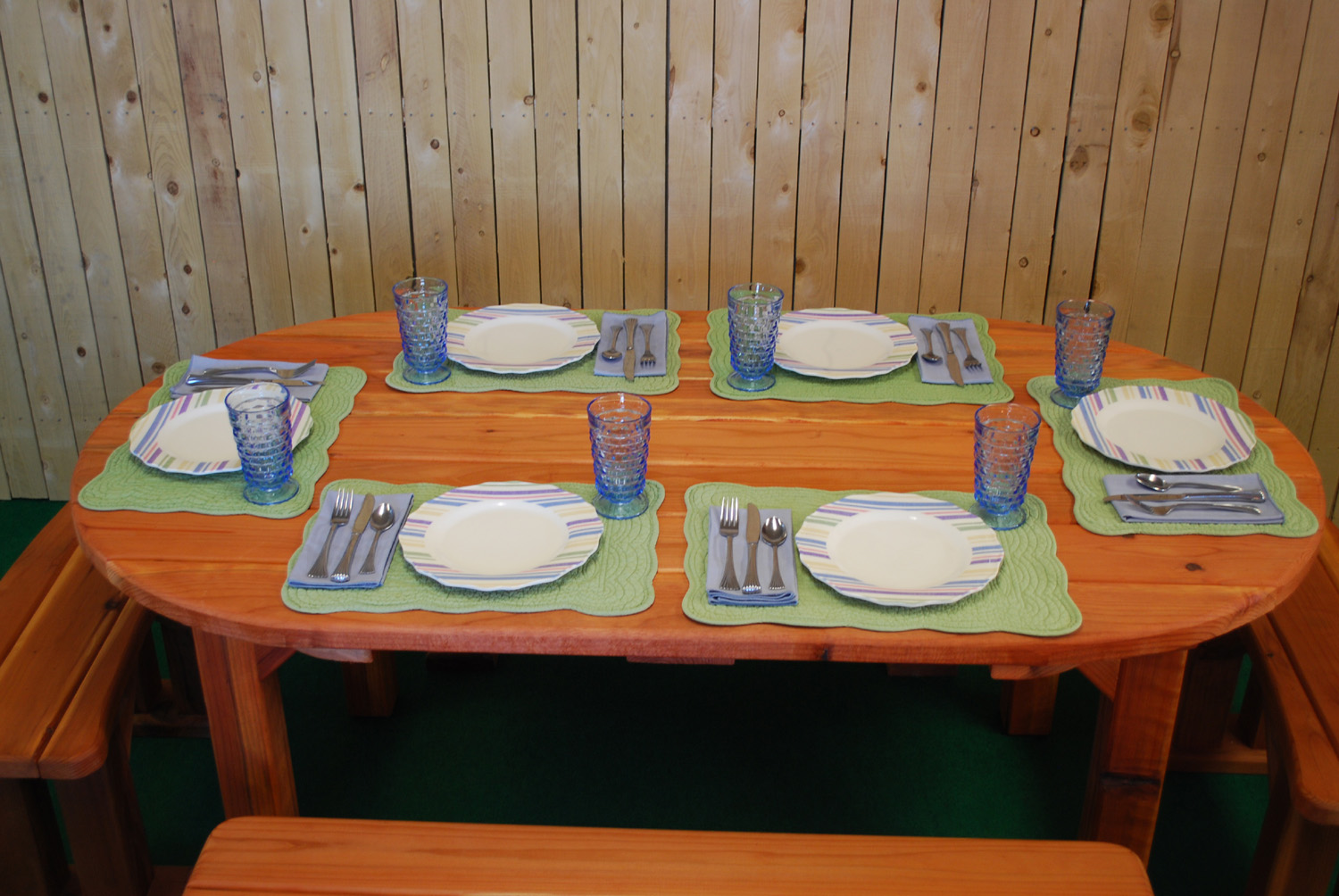 """72"""" redwood oval picnic table"""
