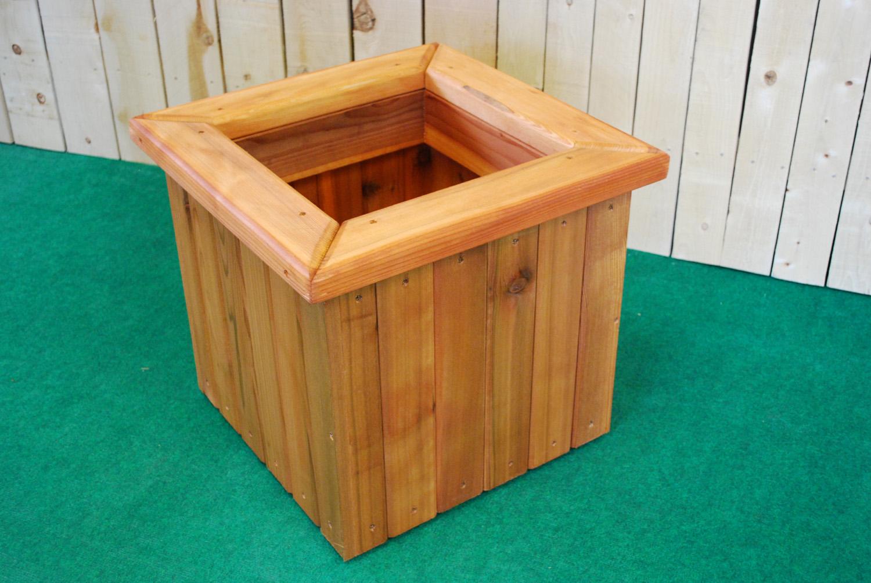 redwood square planter