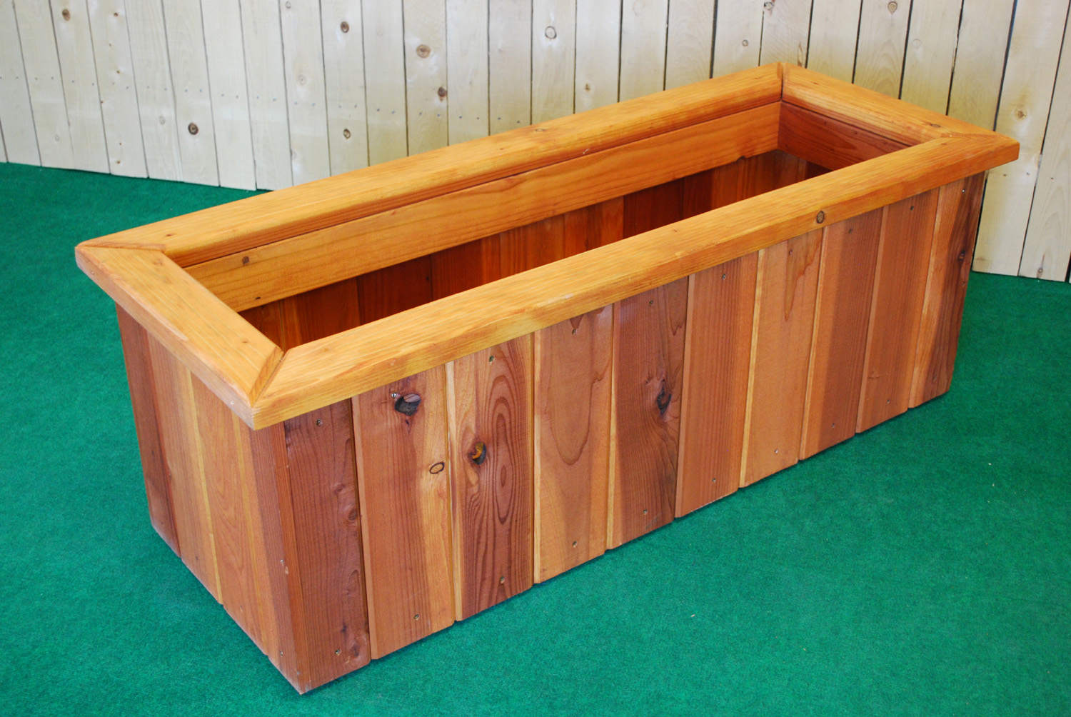 redwood rectangle planter