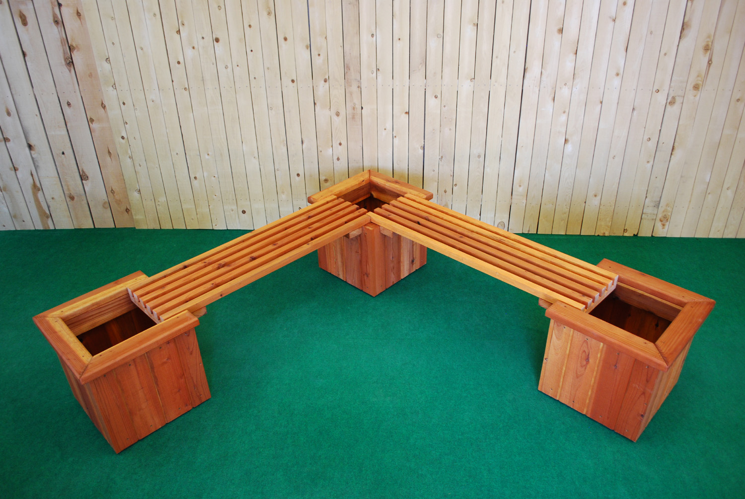 redwood l shape planter and bench