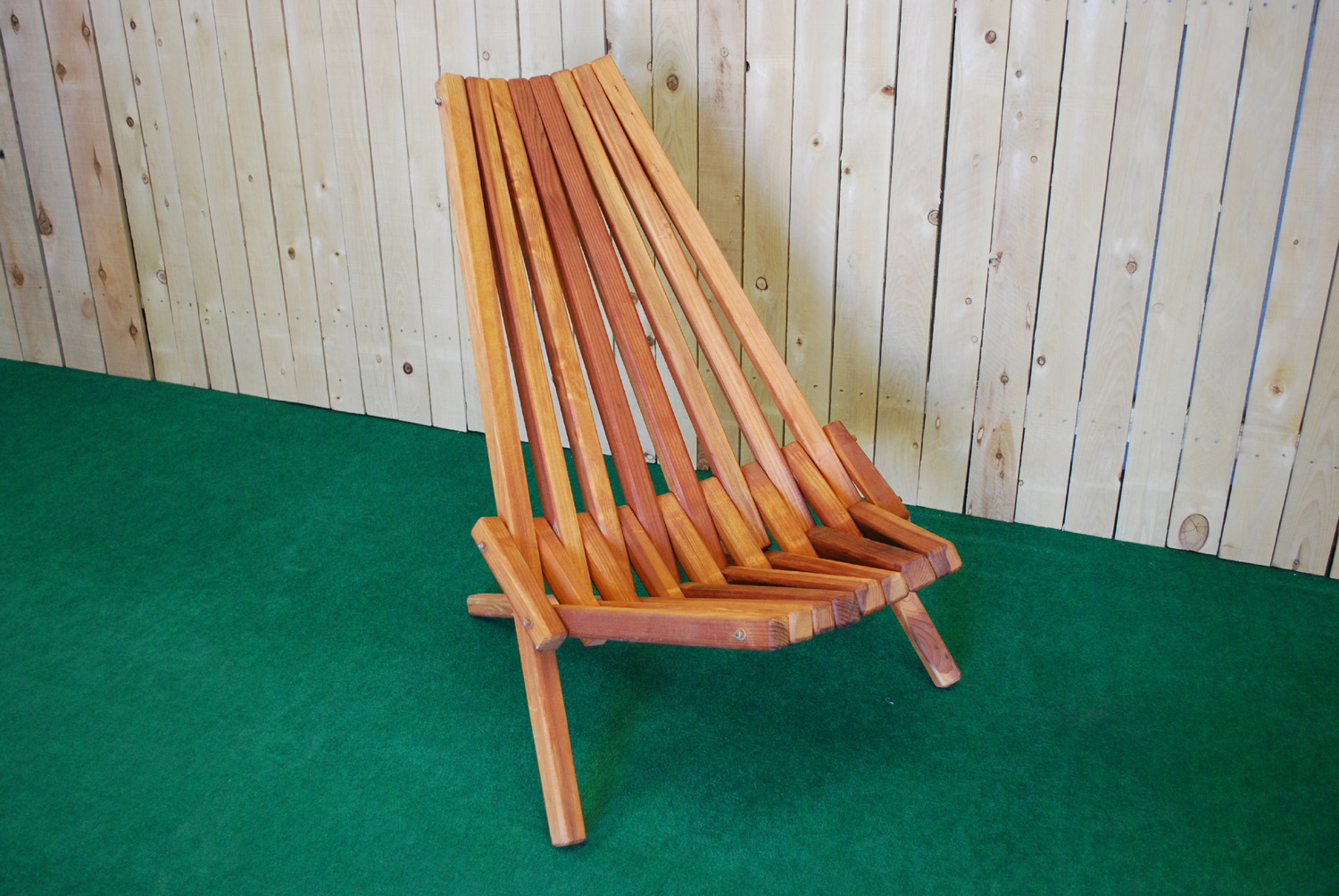 redwood folding deck chair