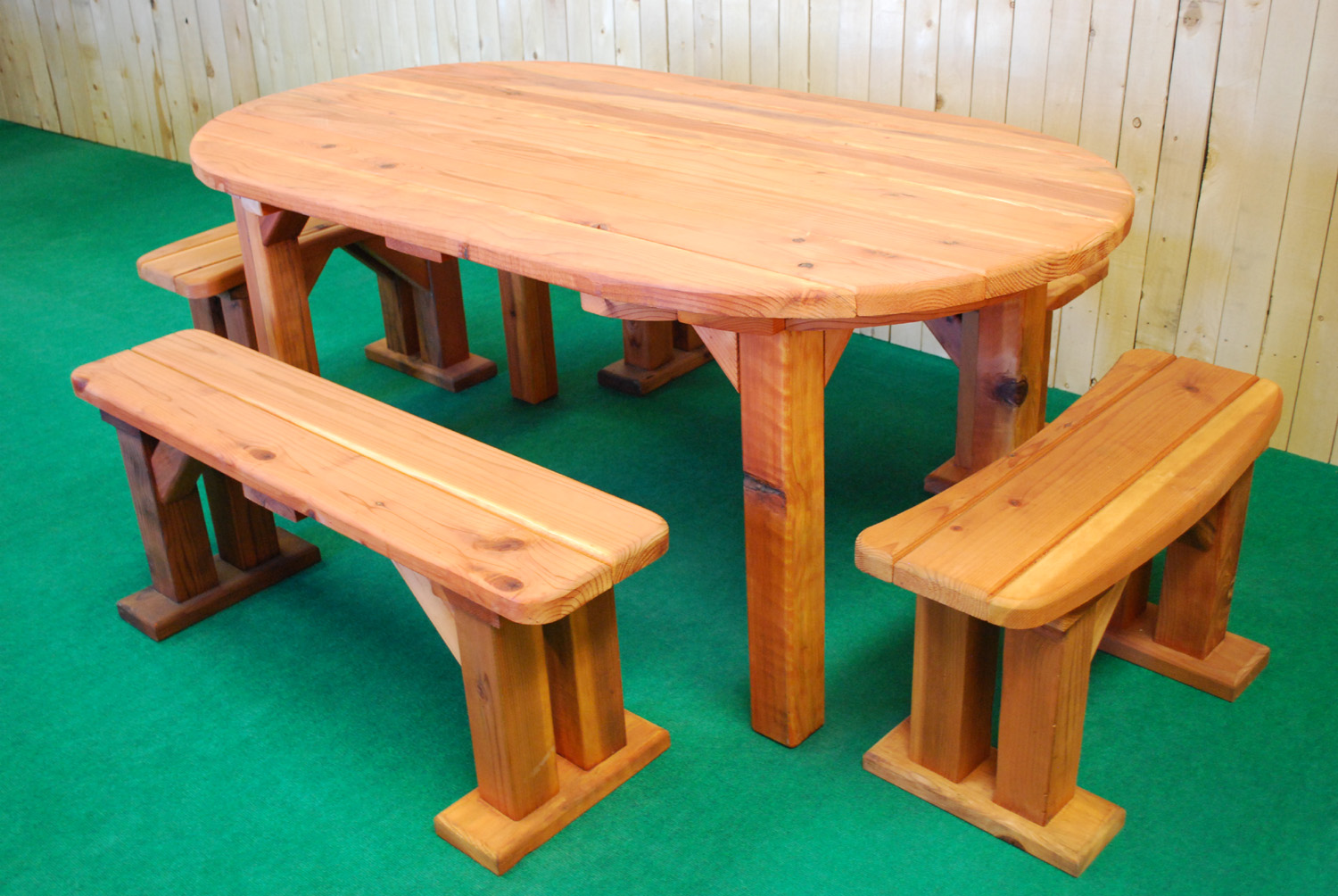 "72"" redwood oval picnic table"