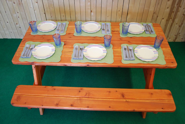 "72"" redwood picnic table"