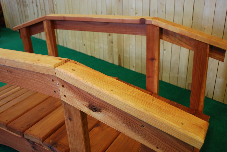 "6' redwood bridge with 17"" high handrail"