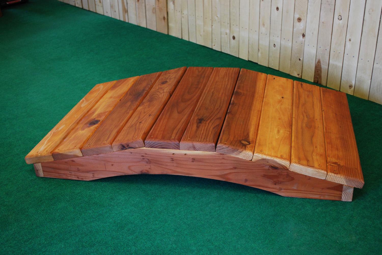 6' redwood bridge with no handrail