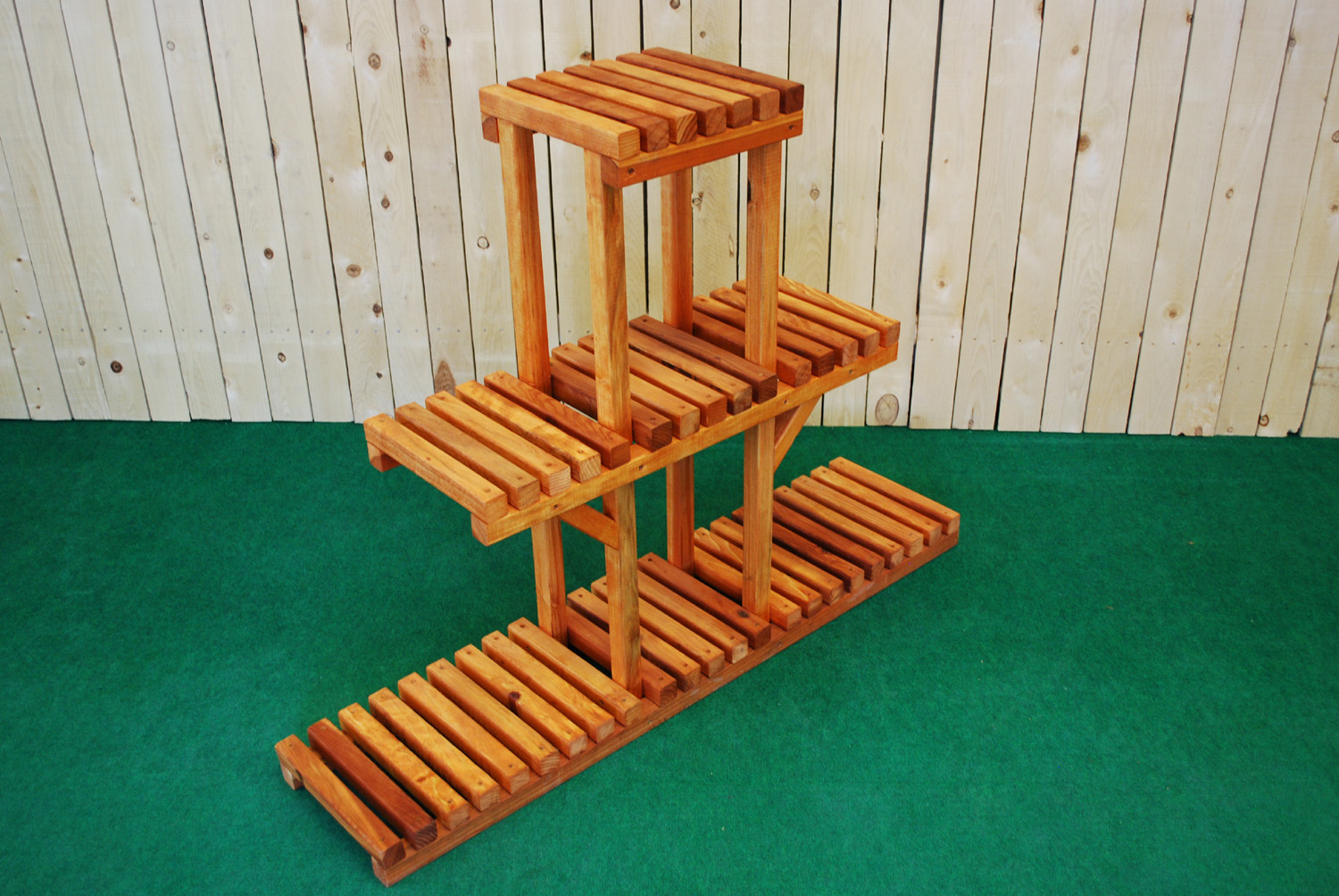 redwood 3-tier plant stand