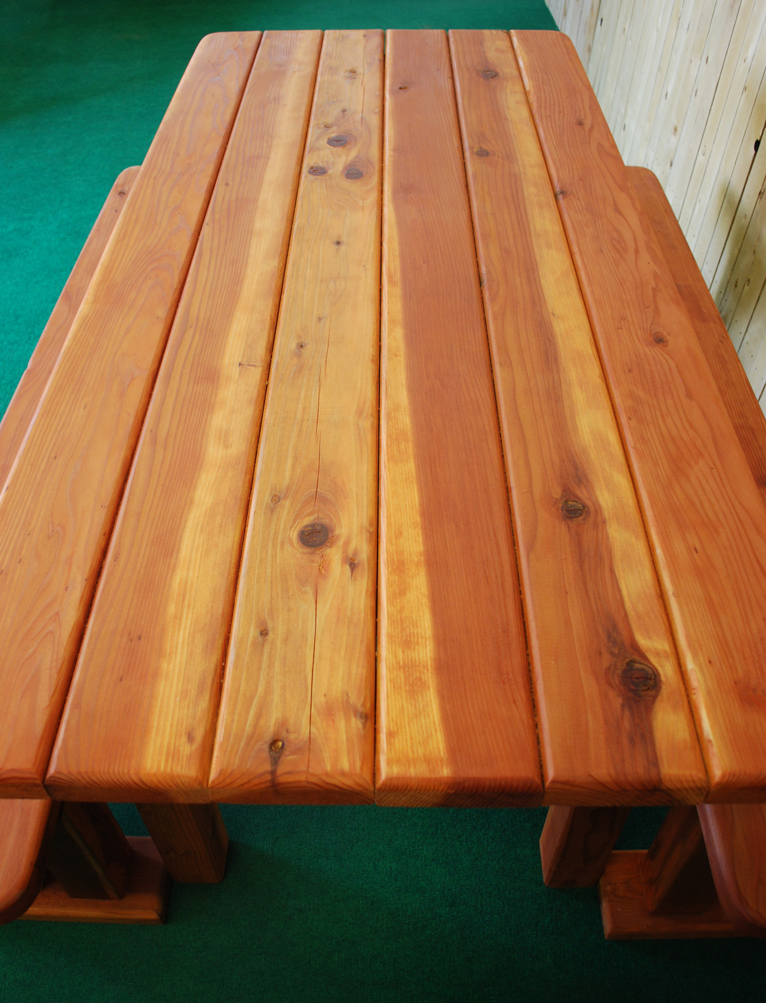 "72"" redwood rectangle picnic table"