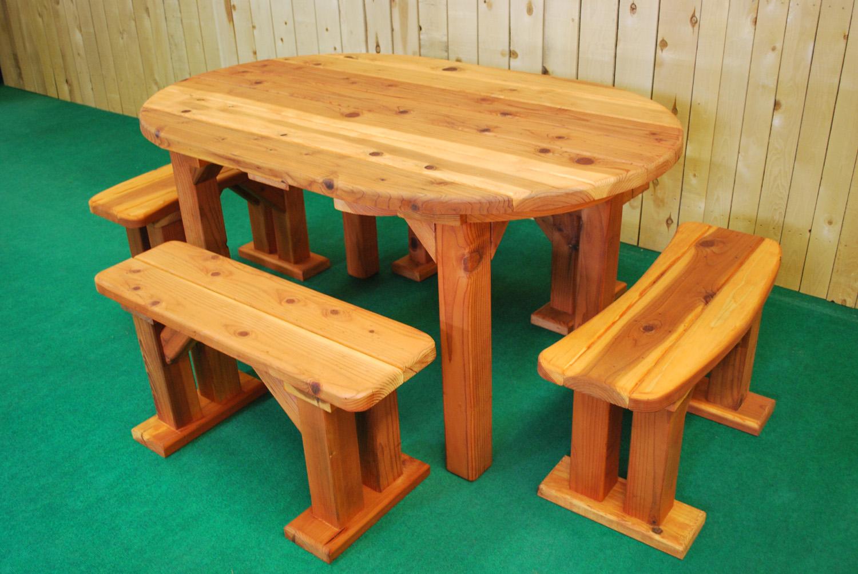 "60"" redwood ovalpicnic table"