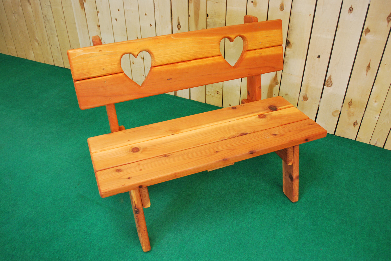 redwood heart bench