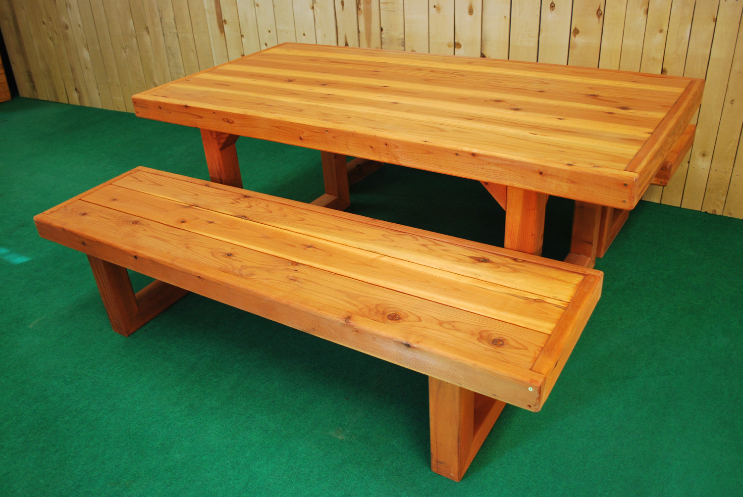 "60"" redwood contempo picnic table"