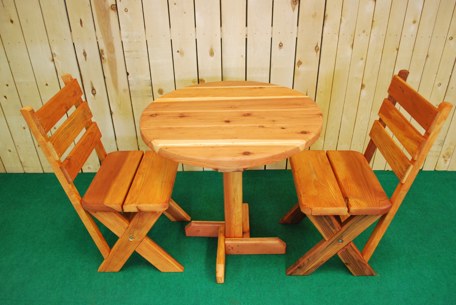 "30"" round redwood picnic table"