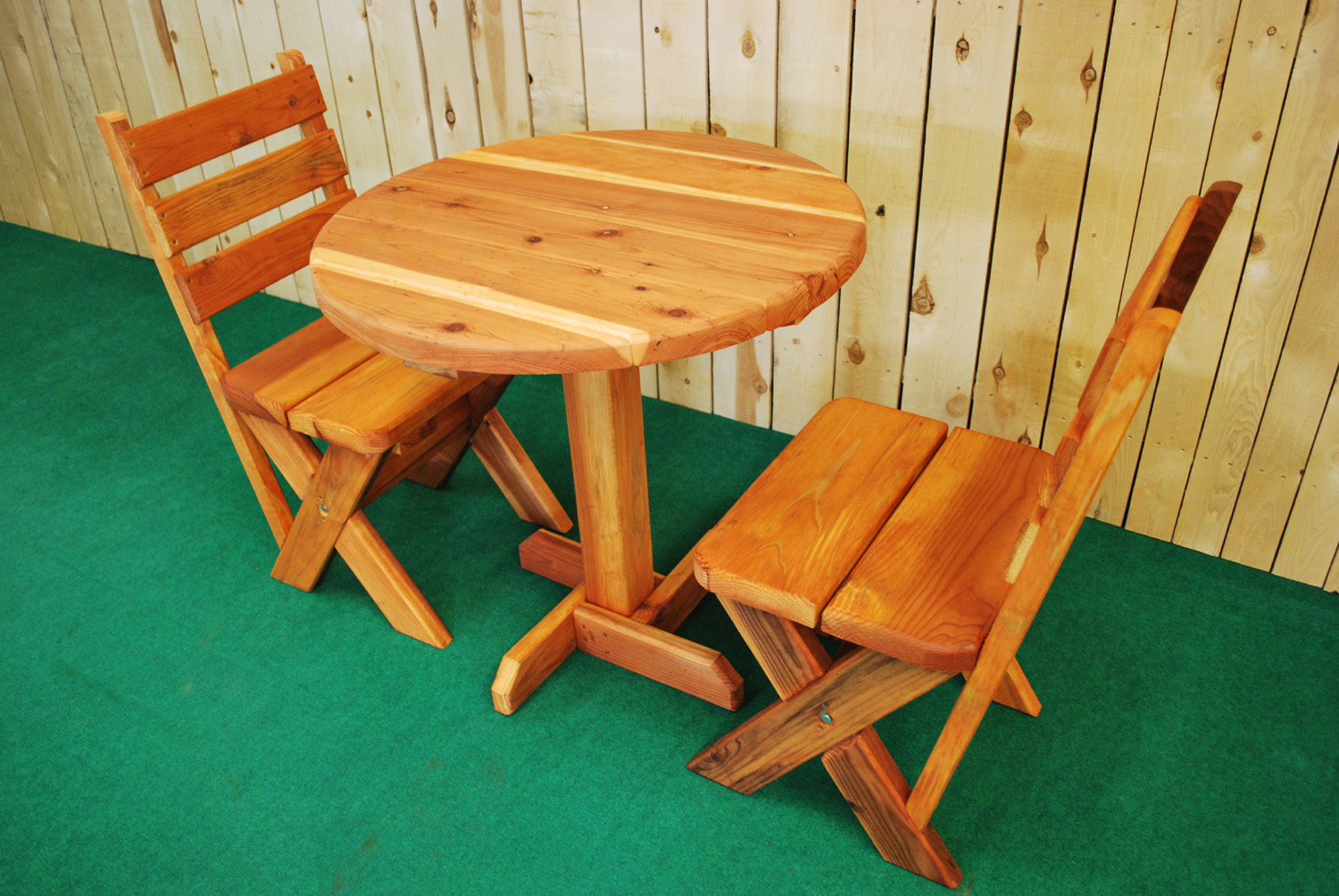 "30"" redwood round picnic table"