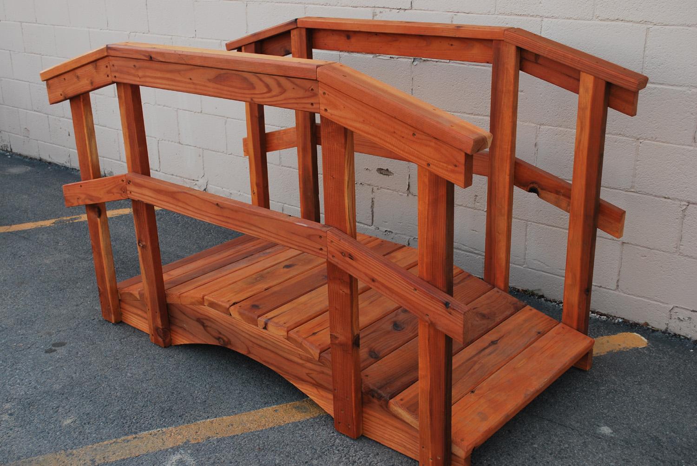 "6' redwood bridge w/ 36"" handrail"