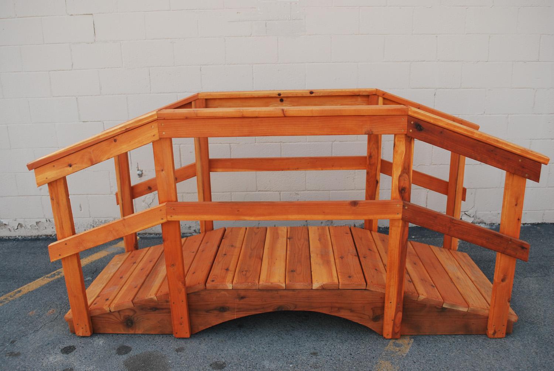 "8' redwood bridge w/ 36"" handrail"