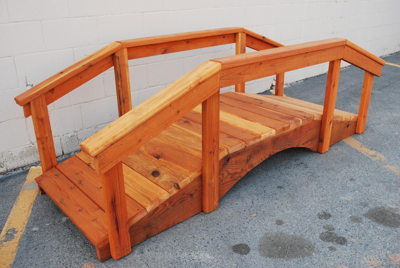 "8' redwood bridge with 17"" high handrail"