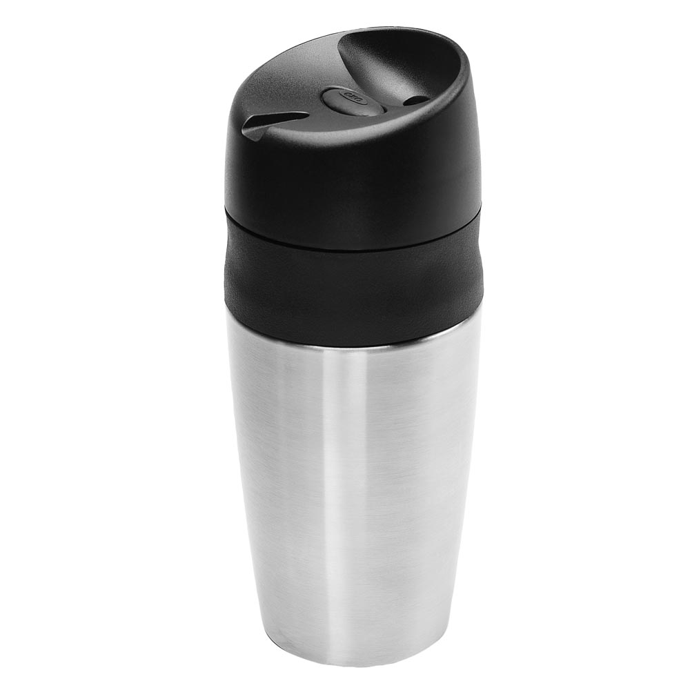 Once again the folks at OXO have improved on a product that many others have tried and failed to perfect. This travel mug is insulated to keep your beverage hot, is easy to drink from, fits most cup holders, but the best part is the simple push-button locking mechanism that keeps your beverage from spilling even when held upside down. And the bonus feature is that it's very easy to give it a thorough cleaning, unlike some locking travel mugs that have places where old moldy coffee can get trapped.
