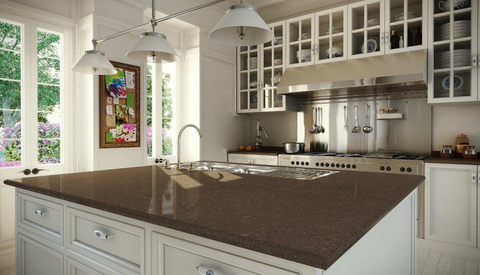 Caesarstone countertops used in traditional space. This color is called Wild Ride and has the look of natural stone.