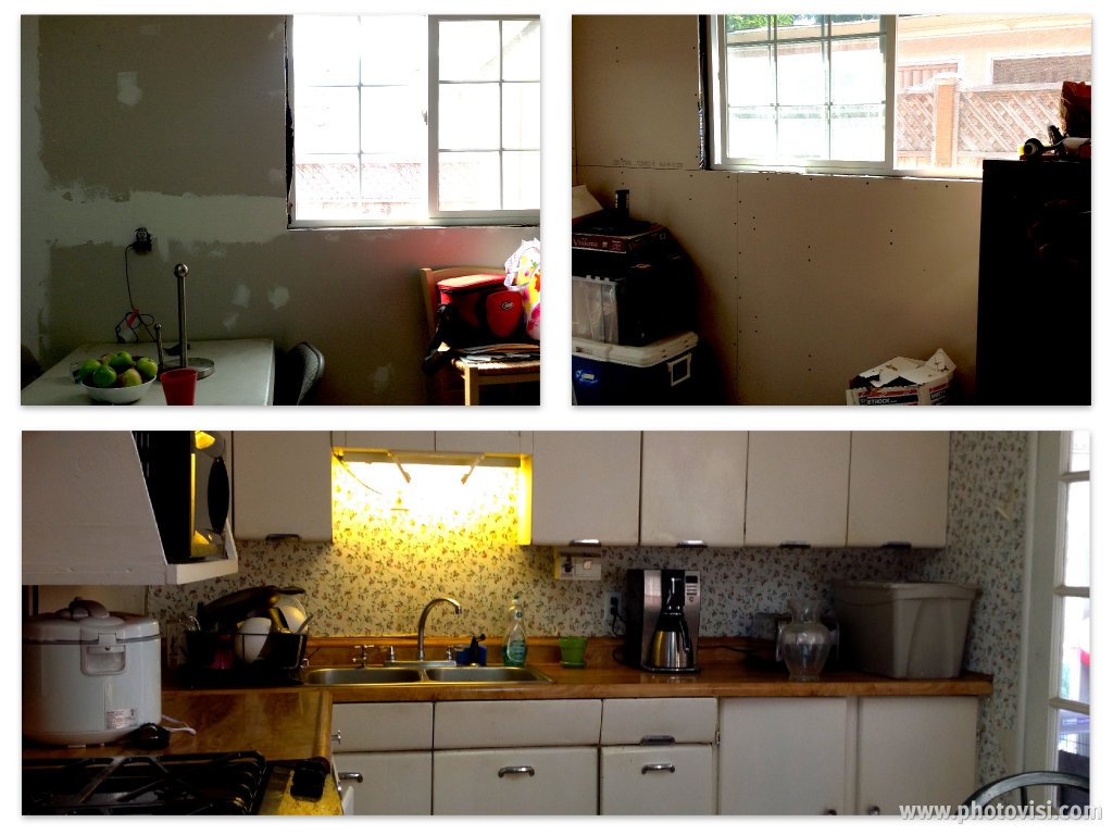 BEFORE: The kitchen walls were a combination of unfinished drywall and peeling wallpaper