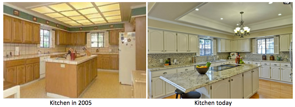Basically the same kitchen with cosmetic and appliance upgrades. The addition of a tray ceiling was a stroke of genius, as this really did the most to modernize and open up the space.