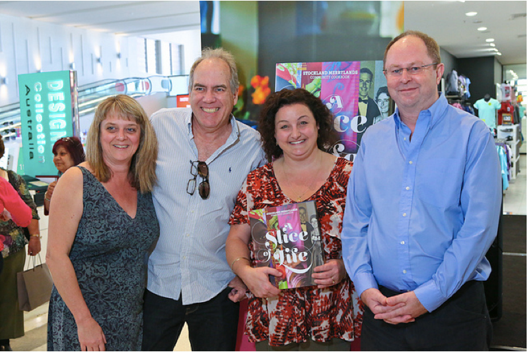 Rose, Stephen and Iain with Julie Goodwin winner of Masterchef in 2009. Julie announced the winners and handed out the cookbooks.
