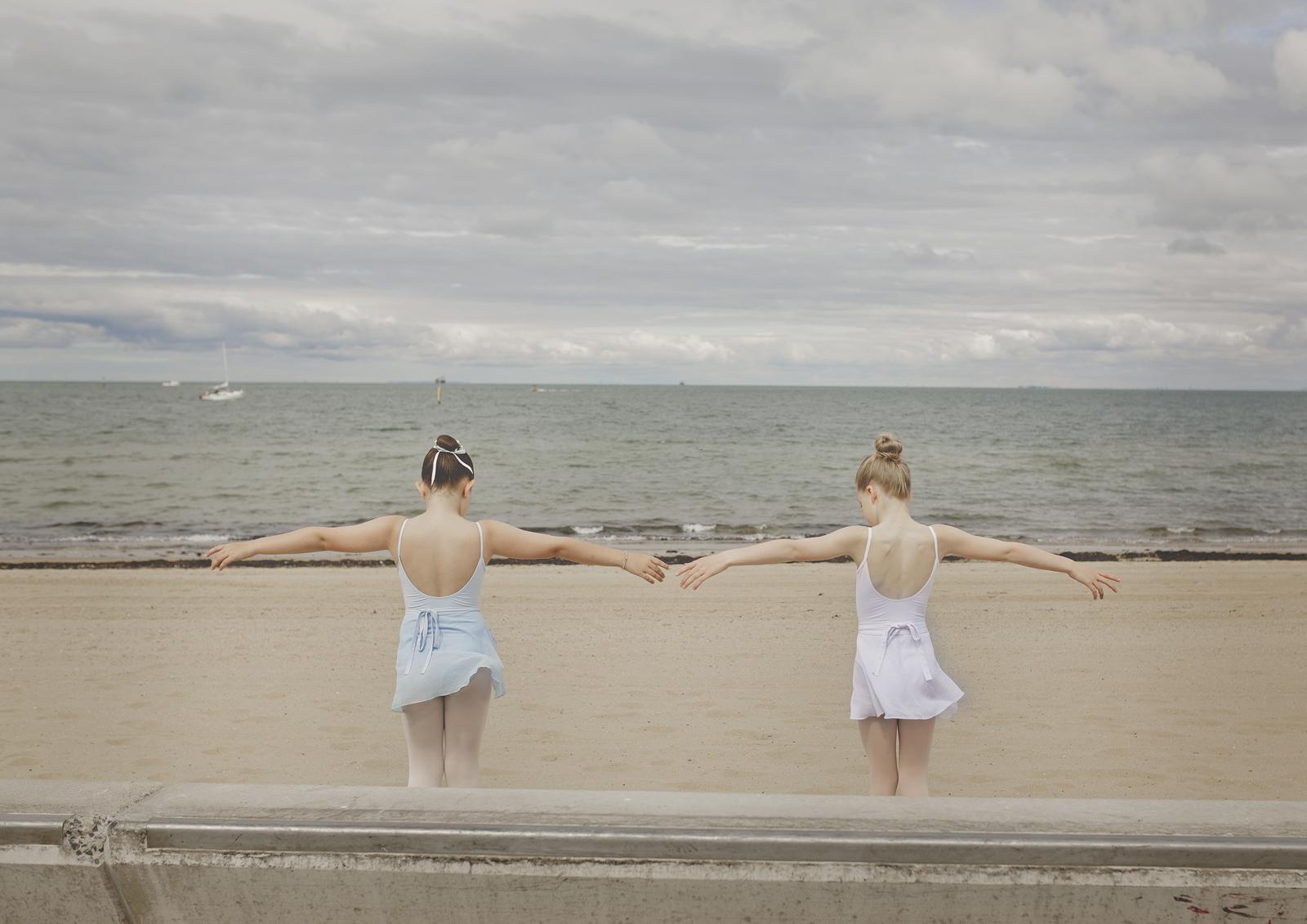 Children rehearsing Ballet at beach!