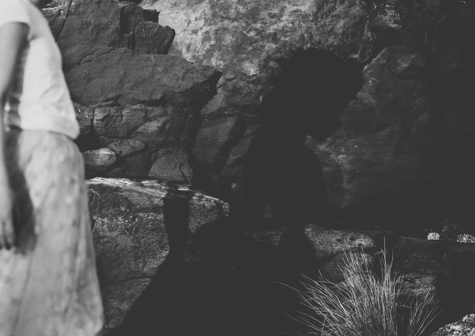 Little girl's shadow on rocks!