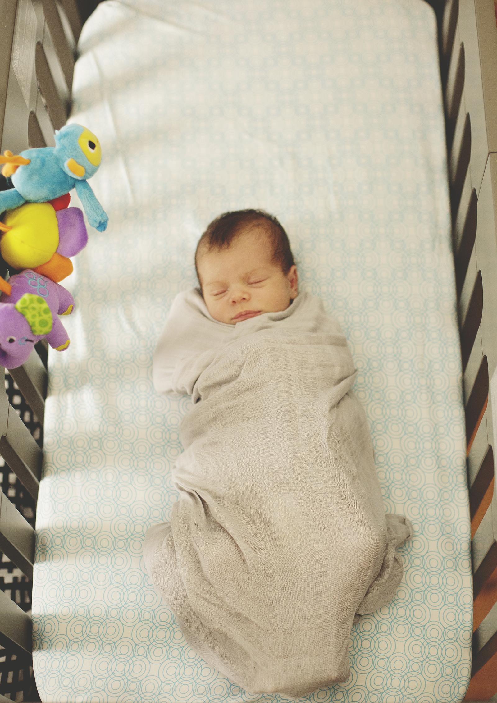 Newborn baby in his cot!