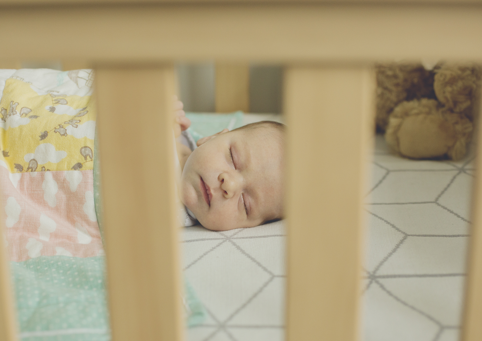 Newborn in his big cot!