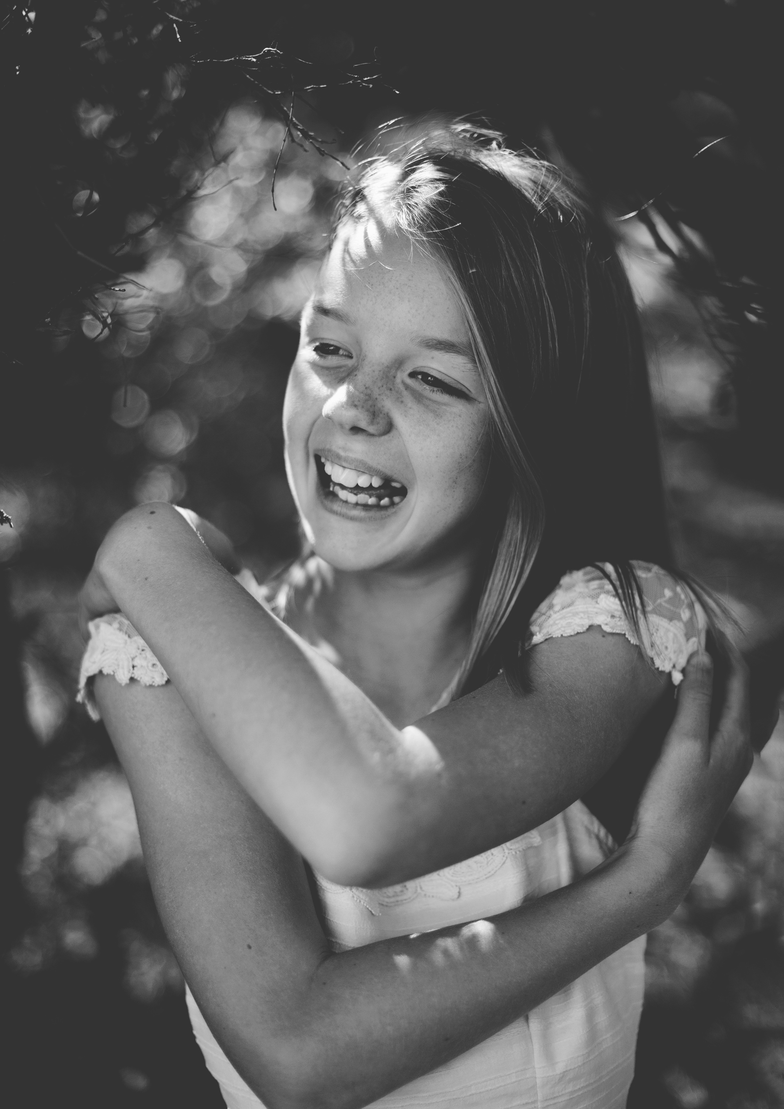 Black & White image of Tween girl!