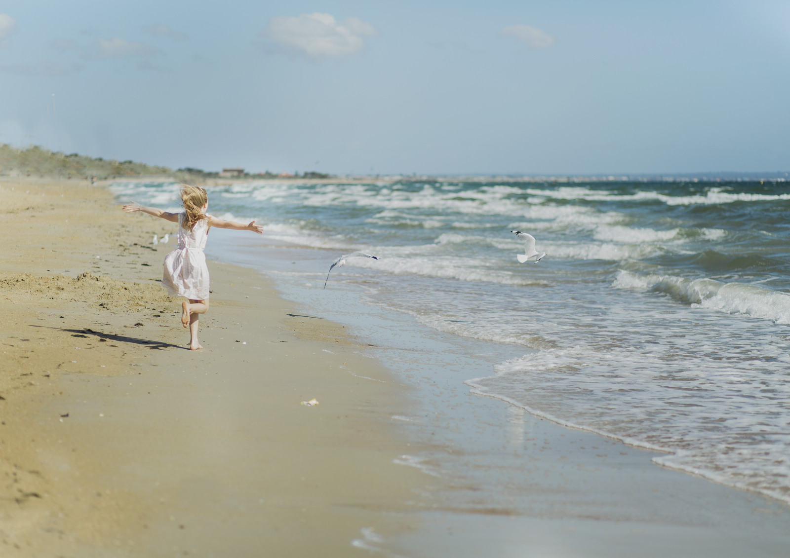 Tween girl chasing seagulls at the beach