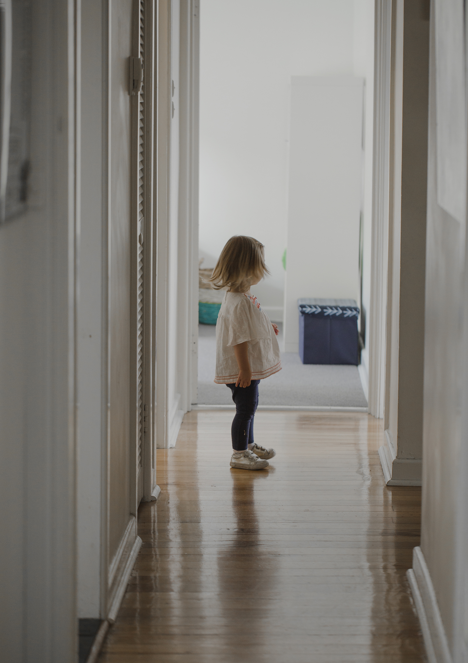 Toddler waiting to go outside and play