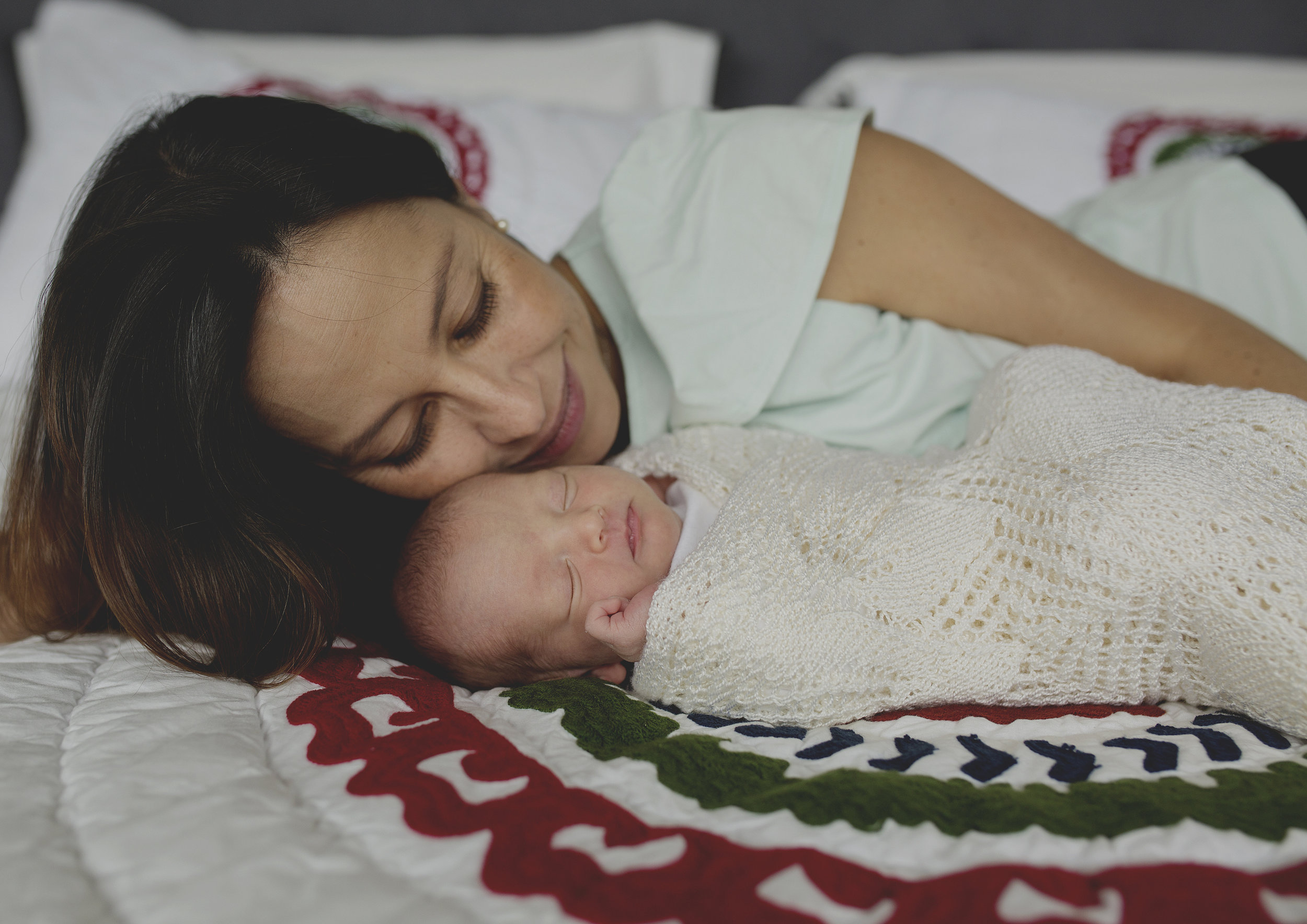 Mother's love for her newborn baby girl