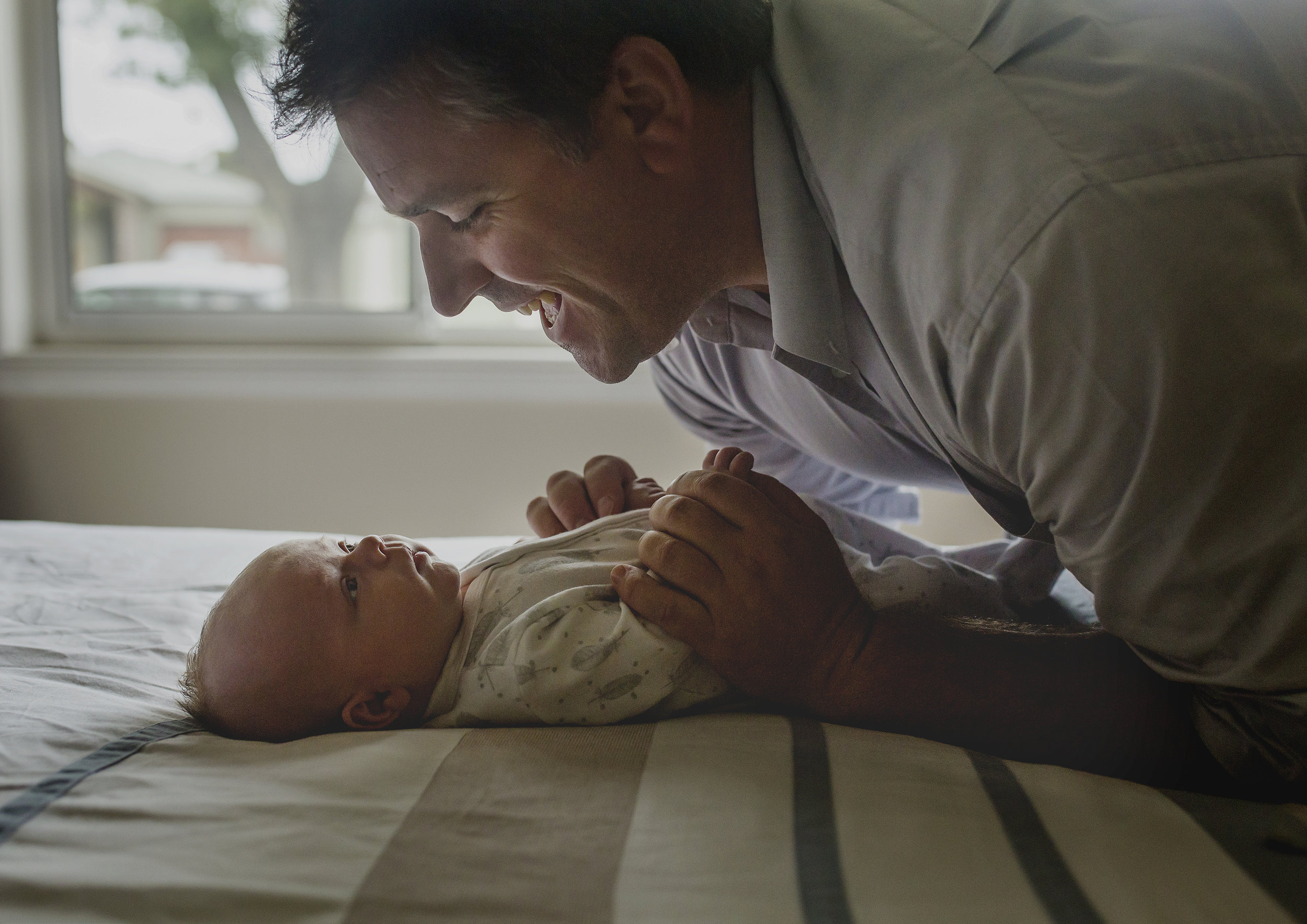Father and his newborn baby boy