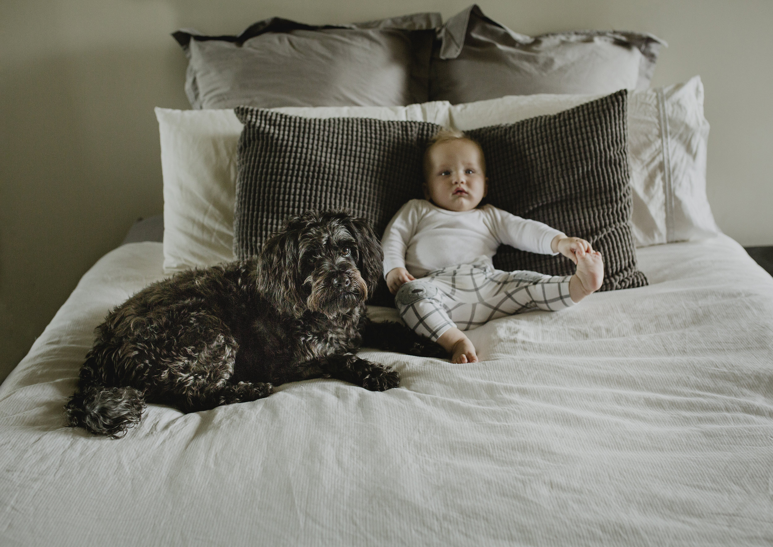 6 month old baby boy and his dog