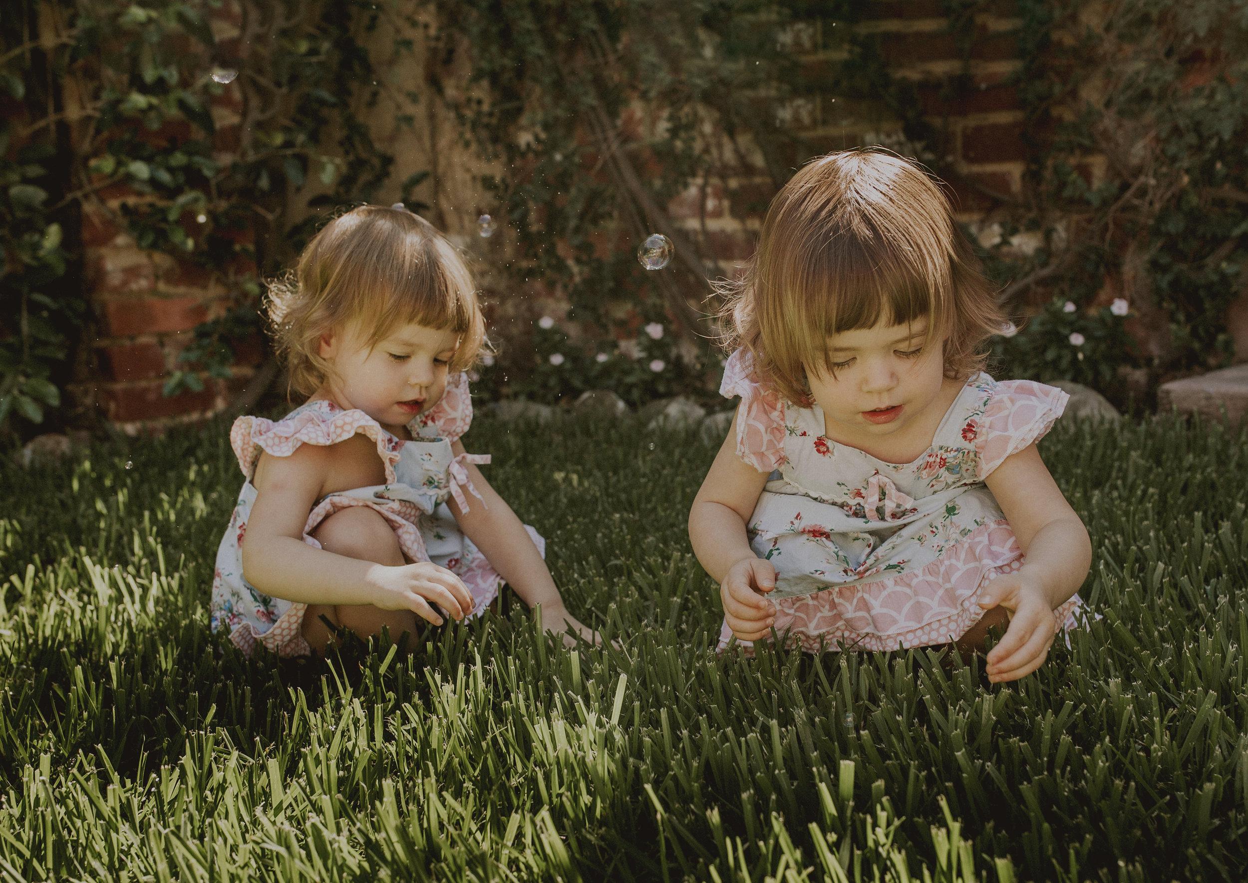 Twin girls playing in their backyard!