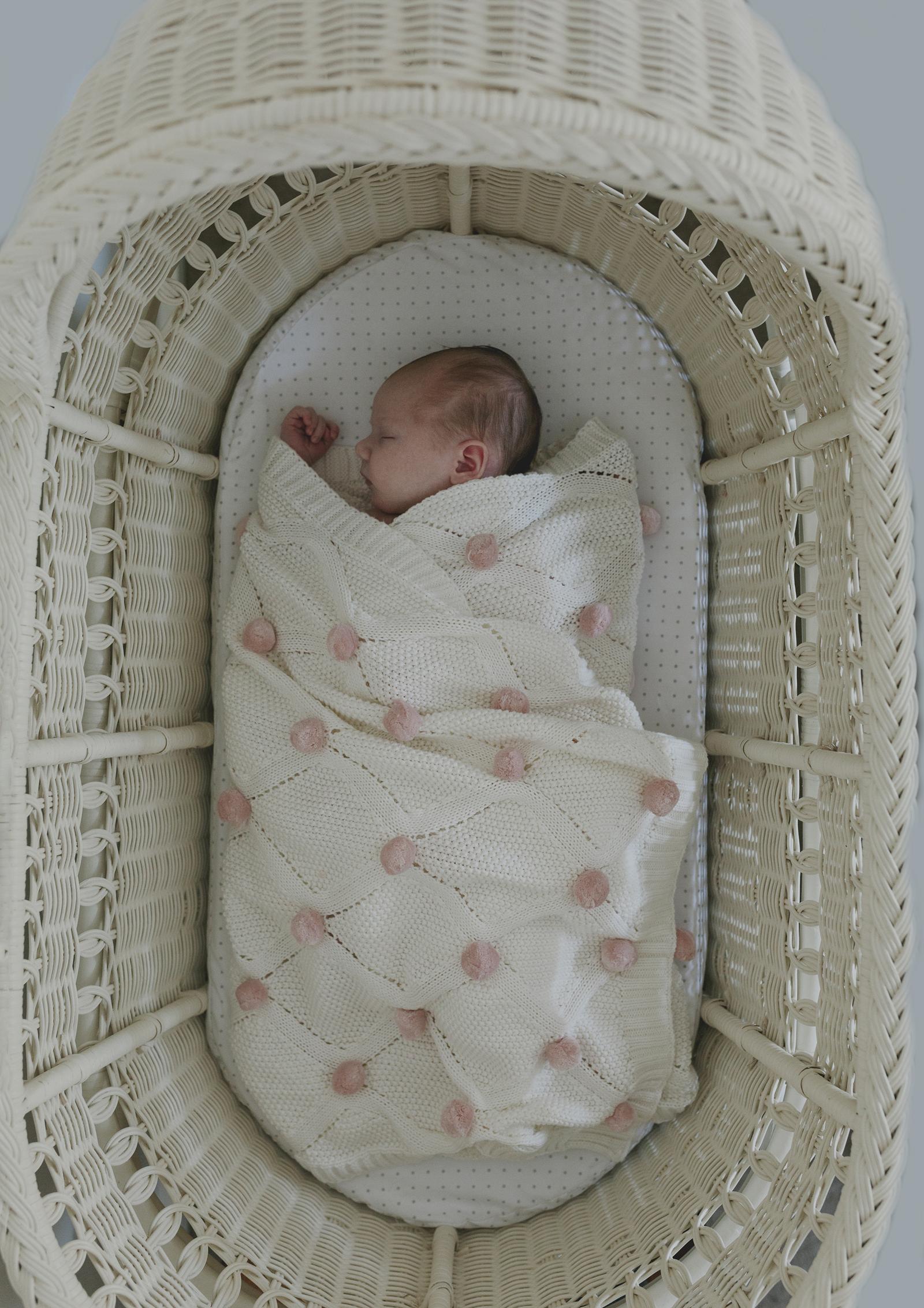 Newborn Baby girl in her bassinett