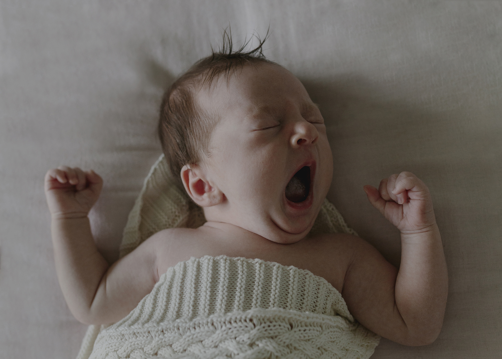 Newborn Baby Girl yawns