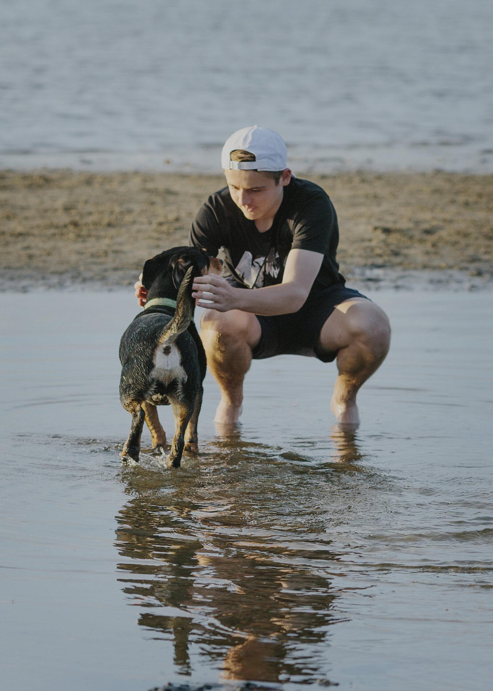 Teenage Boy with his dog