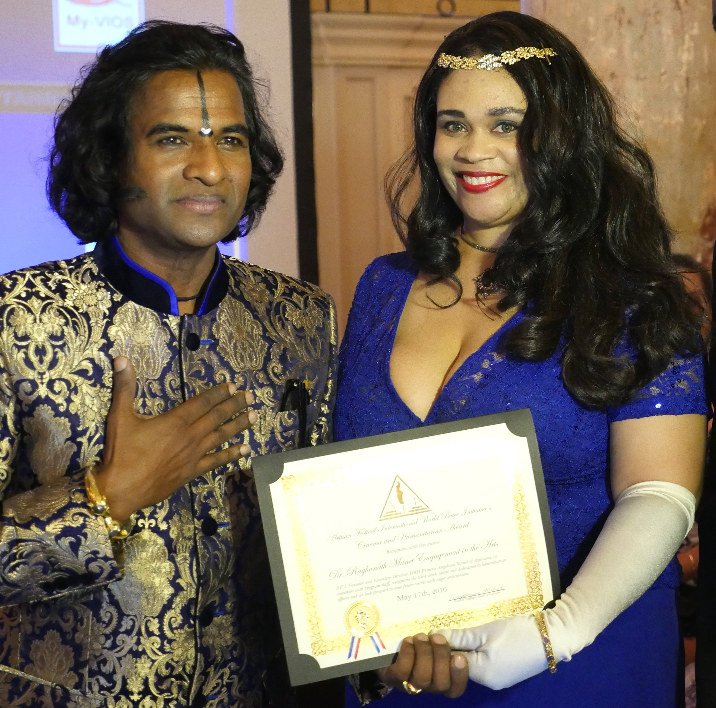 A.F.I./W.P.I. Founder HRH Princess Angelique Monét with Dr. Raghunath Manet who received the 2016 Humanitarian Award for Engagement in the Arts.