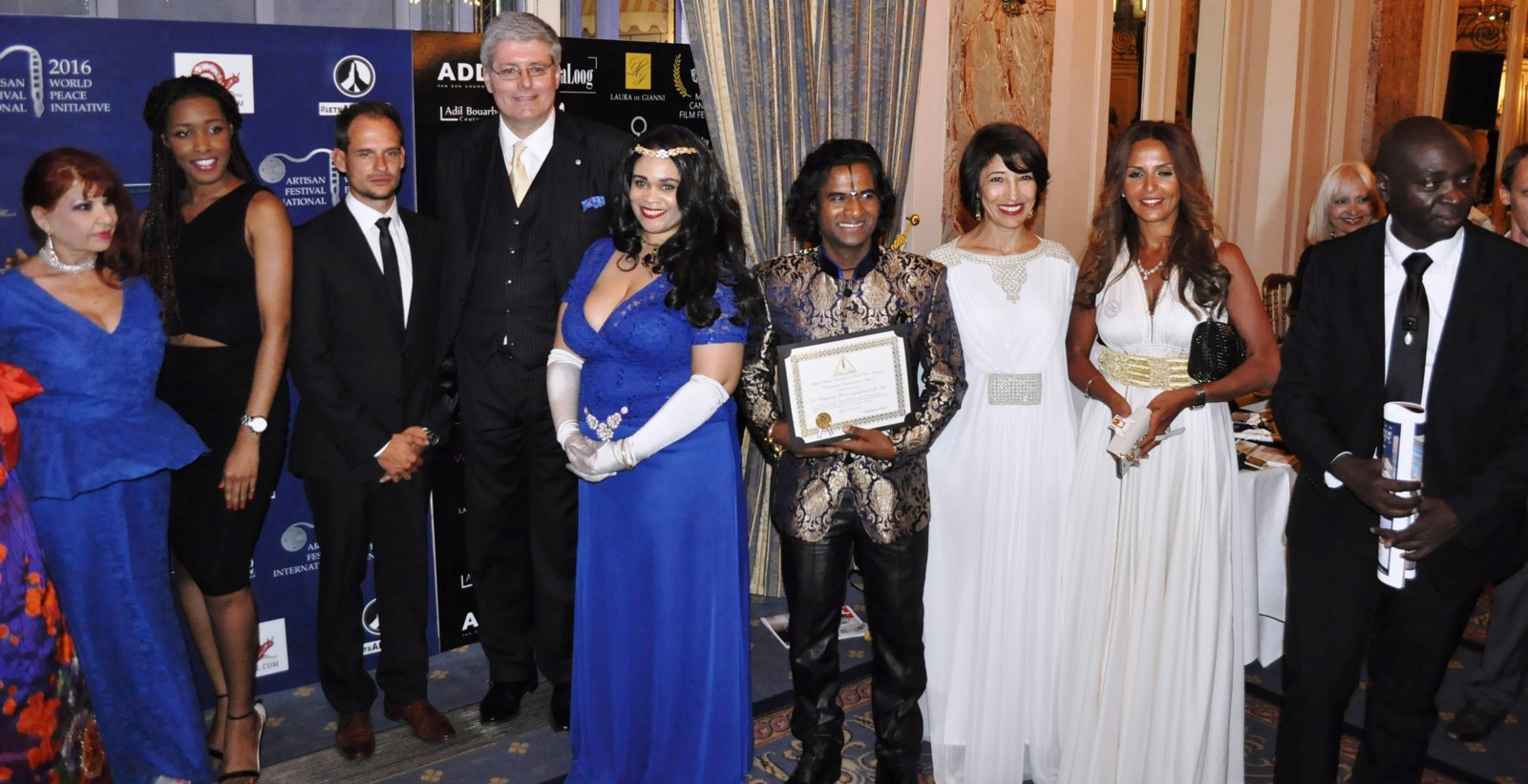 Thomas Maes, HRh Prince Michael of Montenegro, A.F.I. Founder Princess Angelique Monét, Dr. Raghunath Manet at the 2016 Peace and Tolerance Gala, held at the Cannes Intercontinental Carlton Hotel Grand Ball Room.