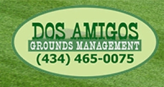 Image of Dos Amigos' Logo in front of a beautiful lawn by Charlottesville Lawn Care along with Christian's Lawn Care.